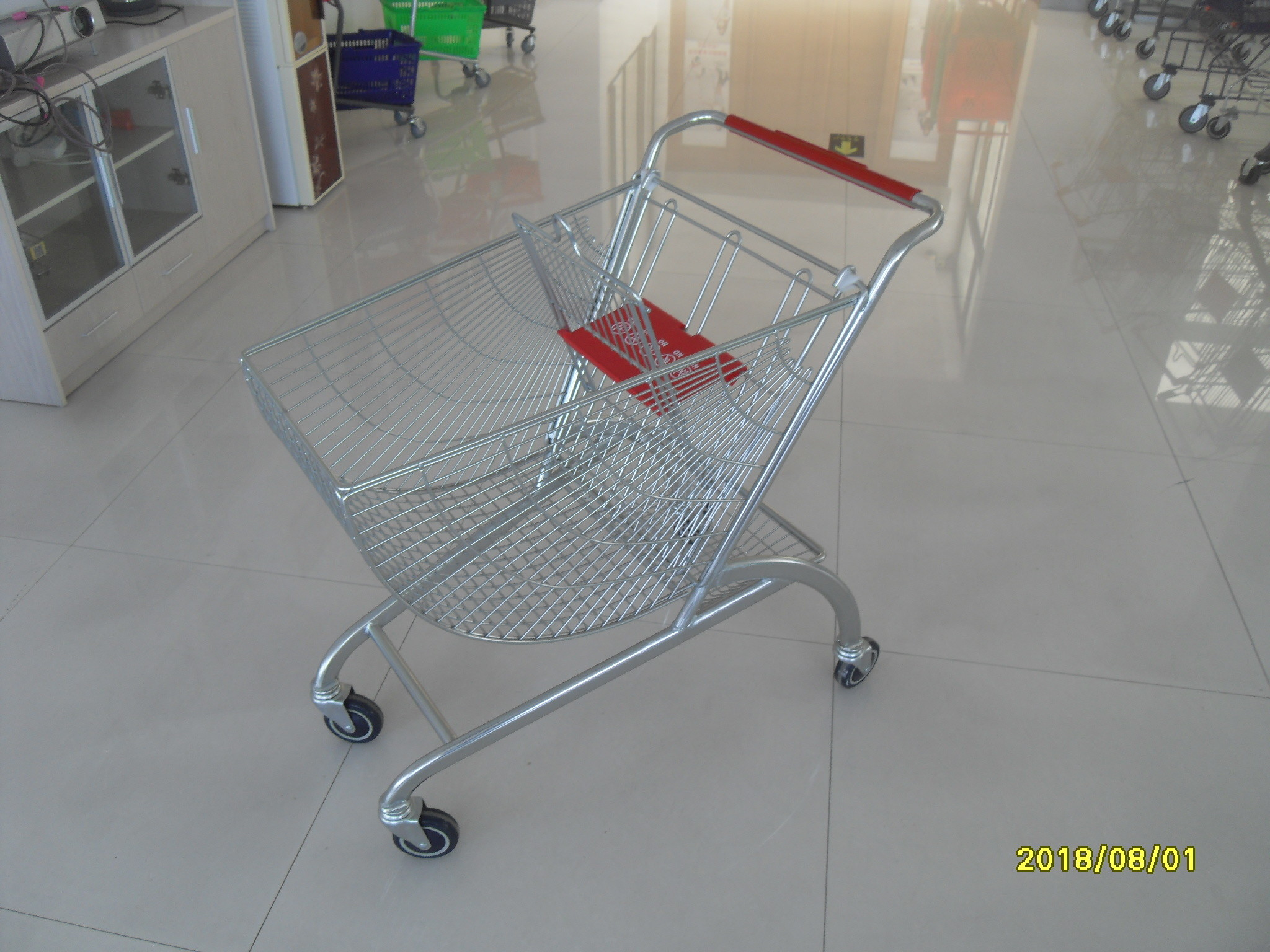 Coloful Powder Coating Metal Shopping Trolley 4 Flat Swivel Casters